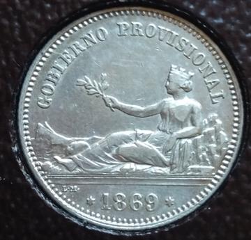 1 peseta 1869. Gobierno Provisional  Fudta